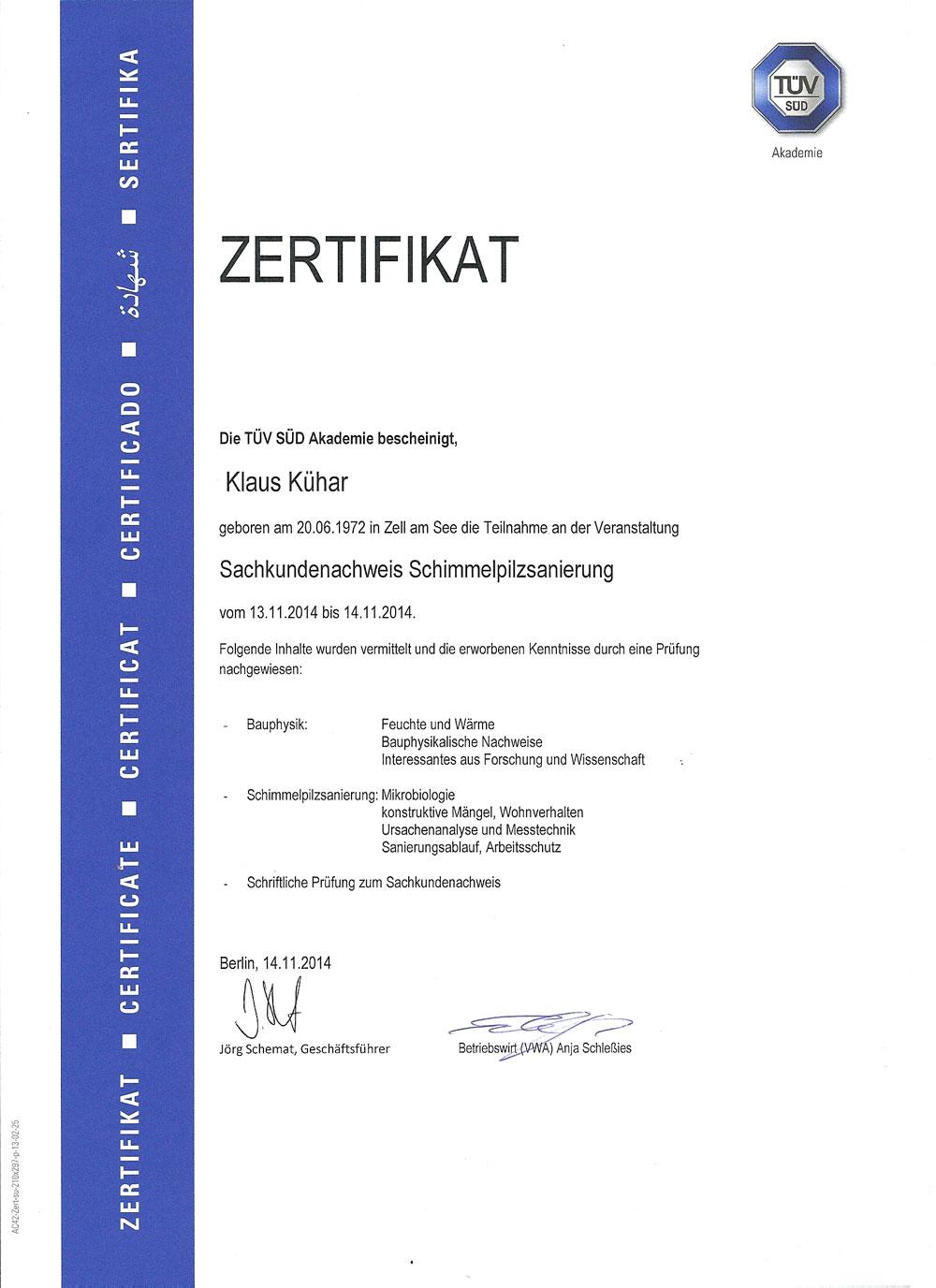 Schimmelpilz Sanierung Zertifikat Malermeister Kühar